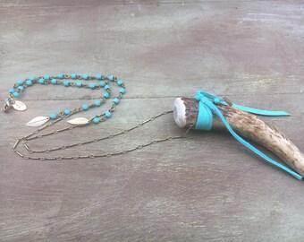 Antler Necklace, Deer Antler Necklace, Antler Tip Necklace, Tine Horn Necklace, Boho Antler Necklace, Turquoise Rosary Antler Necklace