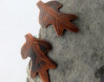 Copper Oak Leaf Post Earrings, Oak Leaf Stud Earrings