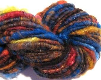 Handspun yarn October Sun 58 yards sparkly art yarn blue brown red yarn corespun yarn knitting supplies crochet supplies Waldorf doll hair
