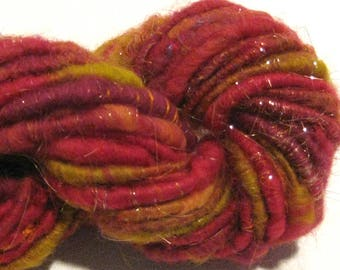Bulky Handspun yarn Fireball 36 yards art yarn red yarn gold yarn corespun yarn knitting supplies crochet supplies Waldorf doll hair