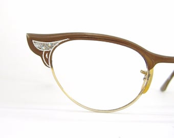 Vintage Cat Eye Glasses Eyeglasses Frame With Spring Hinges