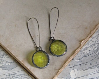Yellow Glass Button  Earrings  Recycled Jewelry
