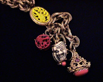 Vintage SELRO Noh Mask and Amulet Charm Fob Dangle Necklace