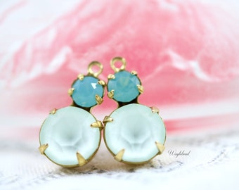 Pacific Green Opal & Powder Green Swarovski Crystal Set Stones 15x9mm Jewelry Finding Round Earring Drops Connectors Brass Settings - 2