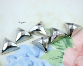 Antiqued Silver Faceted Triangle Charms - 6