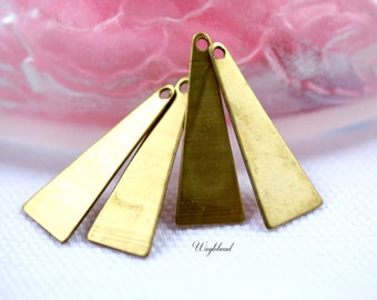 Raw Brass Long Triangle Charm Stampings - 8