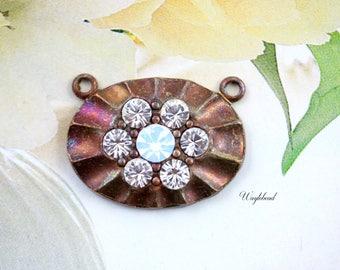 Crystal Clear & White Opal 2 Loops Oval Swarovski Rhinestone Brass Necklace Pendant - 1
