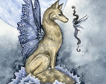 8X10 Wolf Moon fairy PRINT by Amy Brown