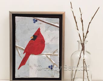 Original Canvas Art Bird Art Red Cardinal Mixed Media Collage  Framed 5 x 7
