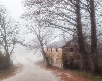 Lange's Mill Dream Fine Art Photography Soft foggy romatic landscape historic stone mill Texas hill country feminine home decor misty road