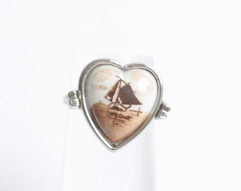 Netherlands Sailboat Scene Ring Heart Shape Sepia Tones Adjustable Ring