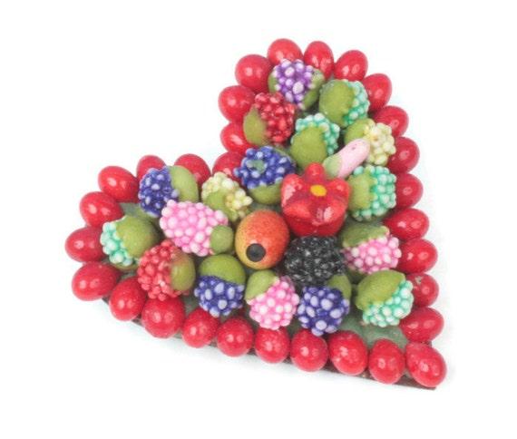 Czech Fruit Salad Heart Shaped Brooch Paper Beads Vintage