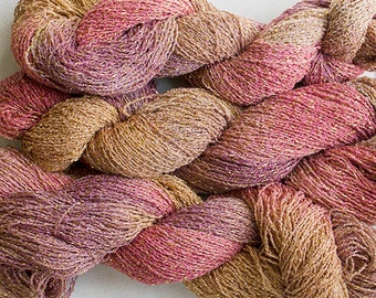 Sparkle, Hand painted fine cotton/metallic yarn, 300 yds - Sandstone