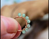 Beaded Rose Gold Filled Nose Ring Wrapped with Genuine Aventurine Beads - CUSTOMIZE