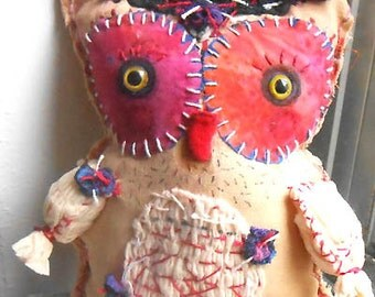 Original art doll ,folk art Red OWL    OOAK From miliaart studio