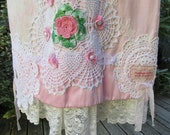 SALE.... Vintage Kitty... pink and white, vintage doilies, upcycled panel skirt.. gorgeous, lace, roses, ribbon.. candy floss.. pretty, MED