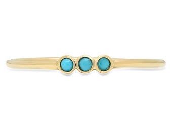 Turquoise Ring, Multi Stone Ring, 3 Stone ring, Stackable Ring, Petite Ring, Yellow Gold Ring.
