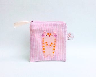 Pink cat linen coin purse linen zipper pouch small change purse cute cat coin pouch cat lover gift for girlfriend for her valentine gift