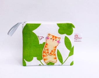 Cat coin purse floral linen pouch purse wallet green leaf cat lovers gift for her zipper wallet for women small change purse cat purse