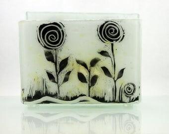 Napkin holder, brigh white Fused glass sgraffito, black flower, House warming gift, Hostess gift, Interior Design