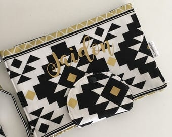 Black Gold and White Nappy Wallet with Option to Personalise/Personalised Nappy Wallet