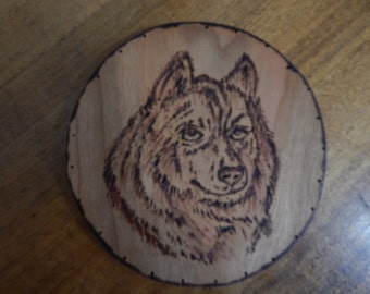 Wood Burnt Image of a Wolf's Head Basket Bottom or Other Craft Projects
