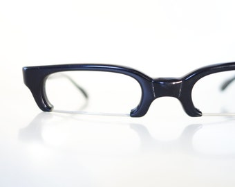 1960s Reading Glasses Mid Century Modern Womens Geek Chic Nerdy Sexy Librarian 60s Sixties Retro Midnight Obsidian Black Wire Rim