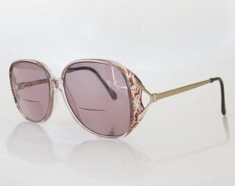 ON SALE SALE Vintage Luxottica Italian Eyeglasses Oversized Sunglasses 1970s Huge Plum Purple Metallic Brass 70s Grunge Glam Chic Indie