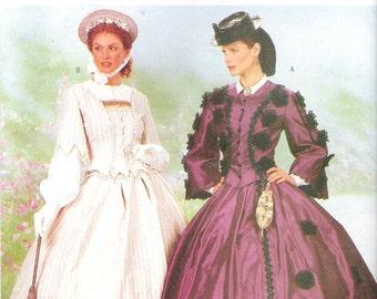Butterick 6694 UNCUT Civil War Costume Sewing Pattern Ladies Suit Sizes 6-10 Hoop Skirt Gone With the Wind Reenactor