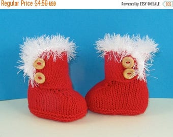 50% OFF SALE Instant Digital File PDF Download Knitting Pattern - Baby Christmas Sn-Ugg Boots pdf download knitting pattern by madmonkeyknit