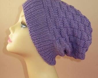 50% OFF SALE Instant Digital File PDF Download knitting pattern only -  Basket Weave Spring Slouch Hat pdf knitting pattern