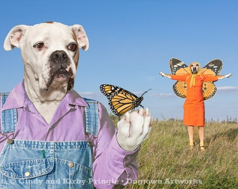 Flying Lesson, large original photograph of Boxer dogs wearing vintage clothes giving a monarch butterfly flying lessons