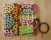 LAST ONE Crochet Hook Case / Organizer / Holder - Rainbow Hexagon Pebble Fabric with Celery Green or Pale Pink Lining
