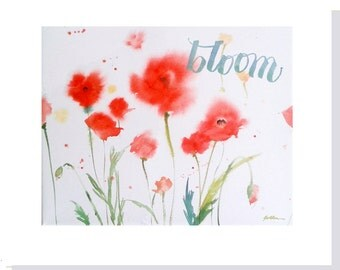 Blooming Red Poppies Note Cards