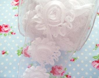 Shabby Chic Frayed Flower Trim - White - 2 1/2 inch - 1 Yard