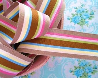 Striped Grosgrain Ribbon - Taffy Candy - 1 1/2 inch - 2 Yards