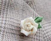 Lapel Pins Mens Lapel Pin Flower Lapel Pin Ivory Rose Silk Lapel Flower Kanzashi Brooch  Wedding Boutonniere Groomsman Gift For Men Custom