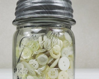 Ball Mason Jar filled with Vintage Buttons