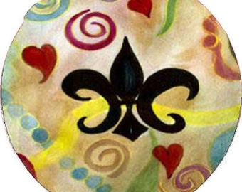Fleur de lis and hearts car coasters from my artwork