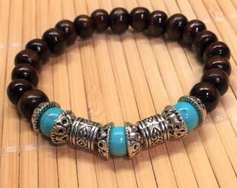 Stackable Beaded Stretch Bracelet Turquoise Silver and Wood - Mala Gemstone Jewelry - Friendship Healing Relaxation Jewelry Unisex