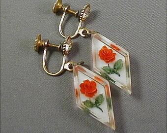 Vintage Lucite Rose Screw Back Earrings