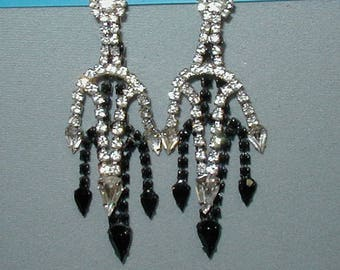 Crystal and Black Glass Rhinestone Dangle Earrings