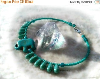 Xmas Sale Turquoise Lucky Elephant Anklet,Summer Wear,Chakra Anklet,Boho Chic,Safari Animal,Fun,African Elephant Anklet,Ready to Ship,Direct