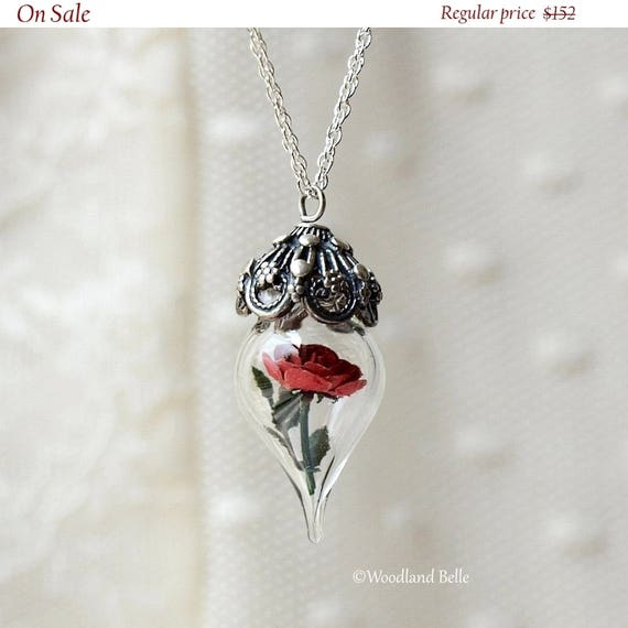 ON SALE Classic Red Rose Flower Terrarium Glass Vial Necklace - Beauty and the Beast - by Woodland Belle