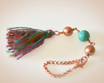 Boho Tassel Purse Charm. Rearview Window Charm. Jewel Tone Sparkle Yarn Tassel
