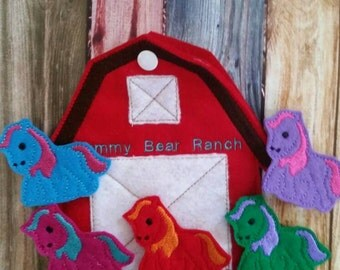 Horse Finger Puppets - Barn Shaped Storage Bag - Free Personalization -  Quiet Toy - Busy Bag - Activity Bag - custom colors