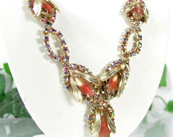 Vtg AB RHINESTONE Necklace Rose to Cream Satin Frosted Art Glass Stone Gold Leaf