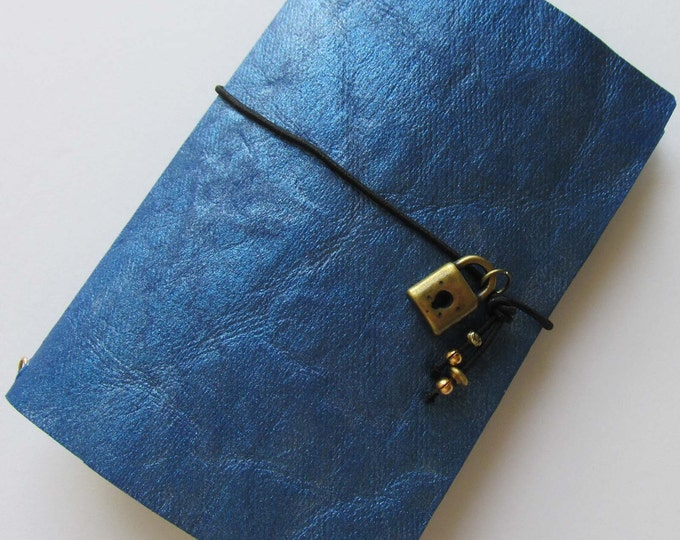 Junk journal mini collage paper notebook micro travellers notebook style fauxdori blue