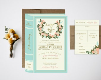 Wedding Invitation Bundle // Library Wedding Invitations // Vintage Wedding // Book Invitations // Library Wedding