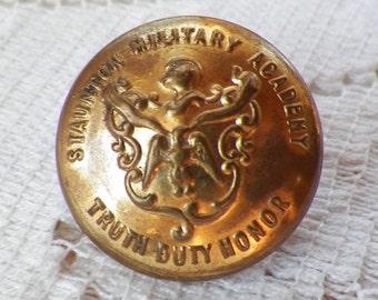 Vintage Staunton Military Academy Cadet Button, Motto Truth / Duty / Honor, Extra Quality, Metal Shank, Virginia, School Memorabilia, 22 mm